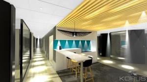 Zone Prémium, vue de la cuisine espace détente.